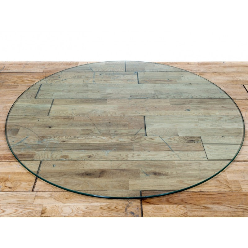 Circular glass hearthplate
