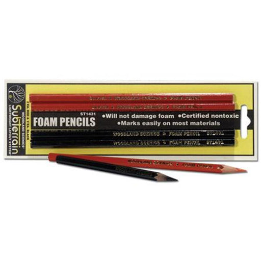 Woodland Scenics ST1431 FOAM PENCILS 4PCS BLACK/RED (10911677319)