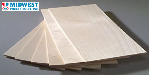 "Midwest 5243 Birch Plywood 3/32 x 12 x 24"" (2.38 x 304.8 x 609.6mm) - 1 Sheet (10910981703)"