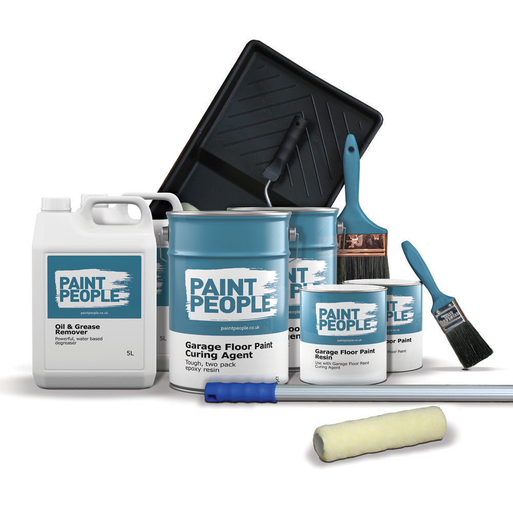 Garage Floor Paint Kit - For greasy, oily, bare or painted garage floors