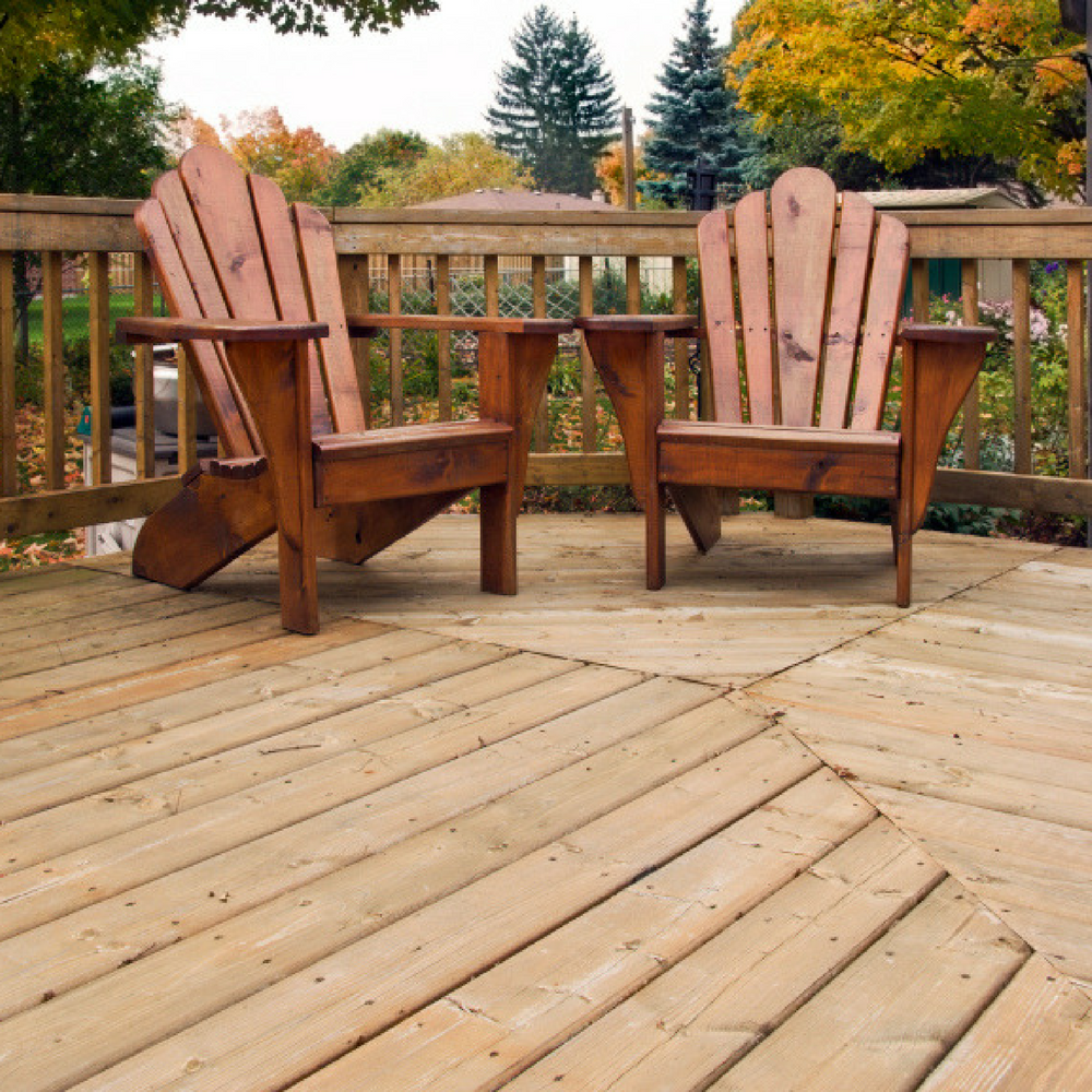 Firmtread Anti Slip Deck Coating in clear on outdoor decking with chairs