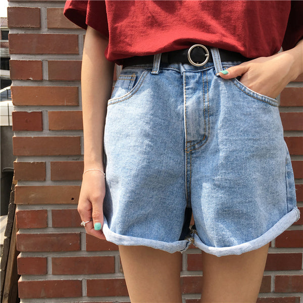 Cuffed Denim Shorts w/ Belt