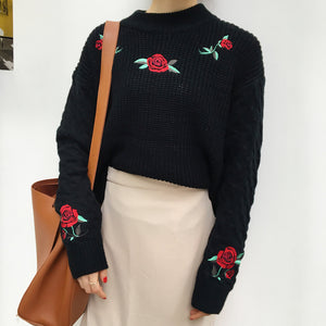 Rosey Posey Sweater Black / One Size