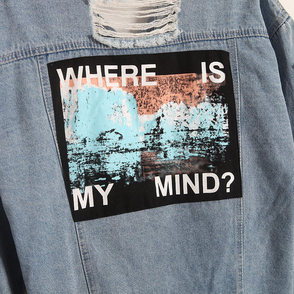Where Is My Mind Korea Retro Washing Frayed Embroidery Letter Patch Jeans Bomber Jacket Light Blue Ripped Denim Coat Daylook
