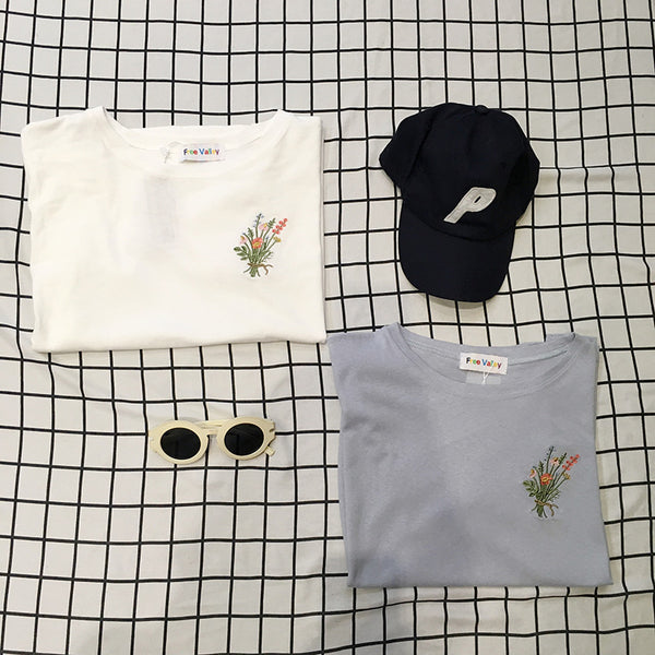 Embroidered Bouquet Graphic Tee T-Shirt