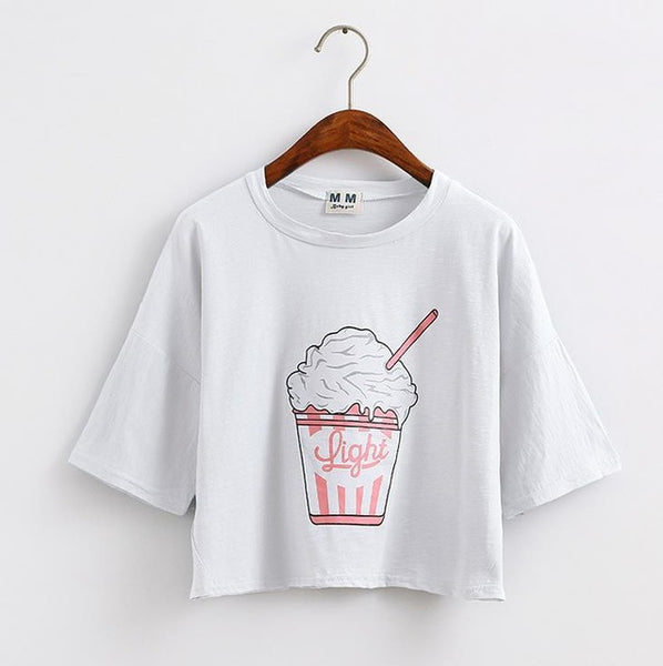 Light Cropped Graphic Tee White / One Size T-Shirt