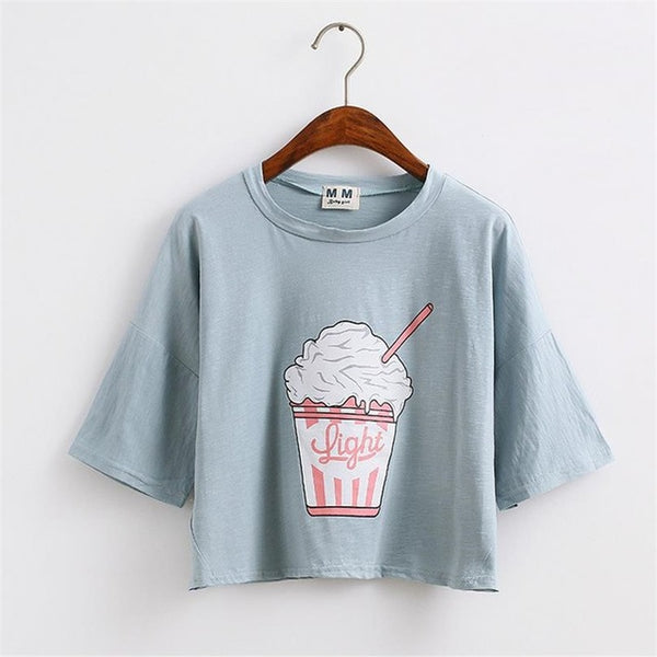 Light Cropped Graphic Tee Sky Blue / One Size T-Shirt