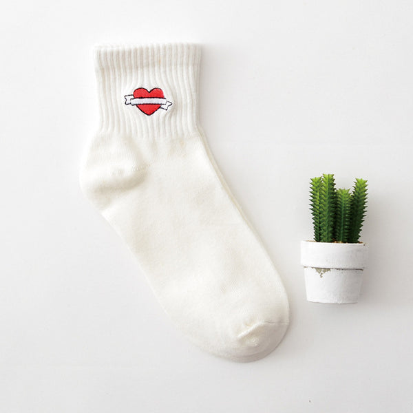 Embroidered Crew Socks 05 / Eu 34 To 39