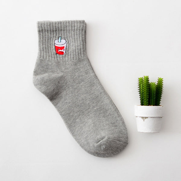 Embroidered Crew Socks 10 / Eu 34 To 39