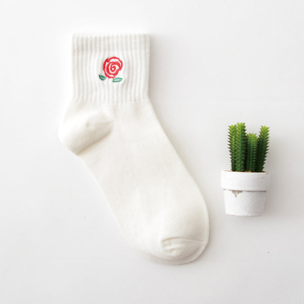Embroidered Crew Socks 16 / Eu 34 To 39