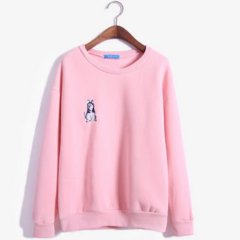 Embroidered Husky Puppy Sweatshirt Pink / One Size