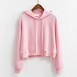 Short Pullover Hoodie Pink / One Size