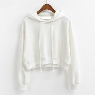 Short Pullover Hoodie White / One Size