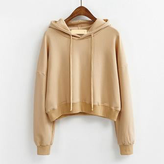 Short Pullover Hoodie Khaki / One Size