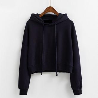 Short Pullover Hoodie Navy Blue / One Size
