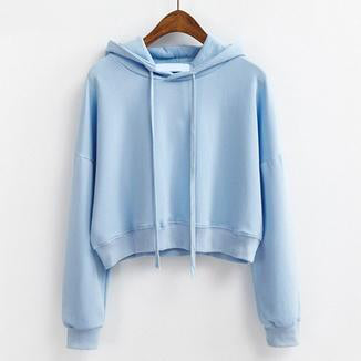 Short Pullover Hoodie Sky Blue / One Size