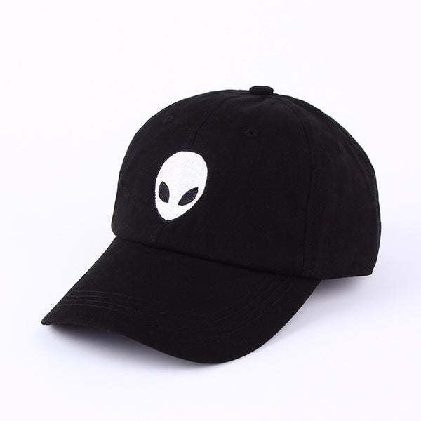 Embroidered Alien Dad Cap Black