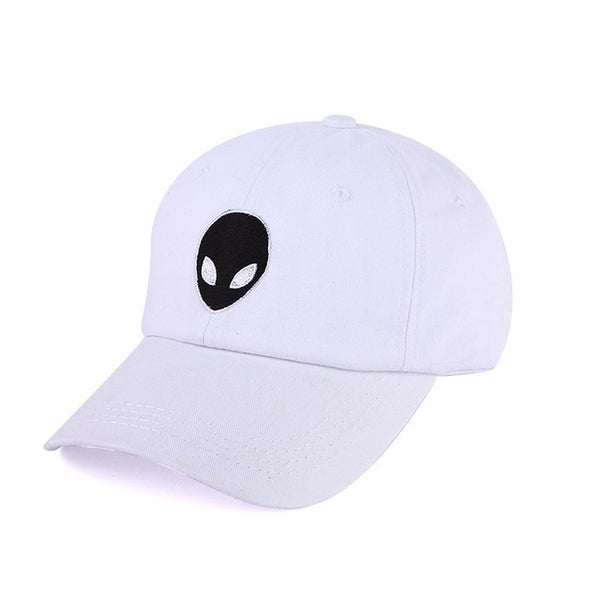 Embroidered Alien Dad Cap White