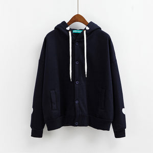 Embroidered Button-Down Hoodie Navy / One Size