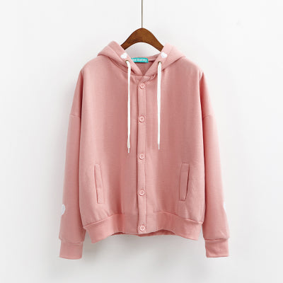 Embroidered Button-Down Hoodie Pink / One Size