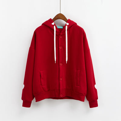 Embroidered Button-Down Hoodie Red / One Size