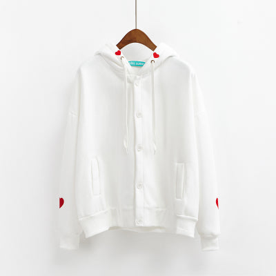 Embroidered Button-Down Hoodie White / One Size