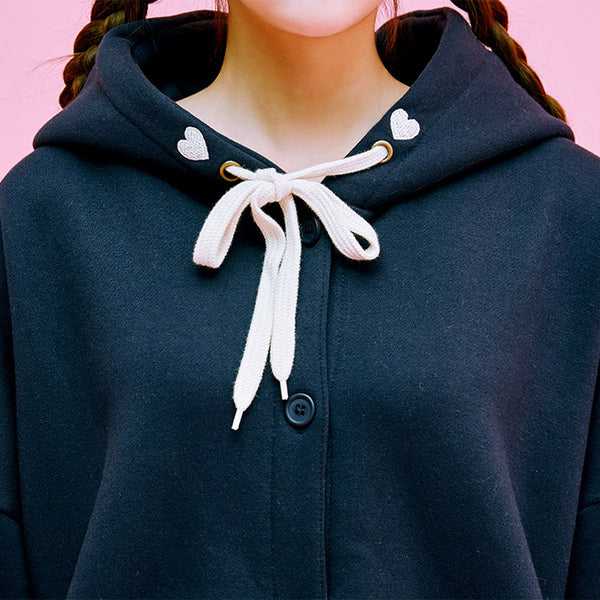 Embroidered Button-Down Hoodie