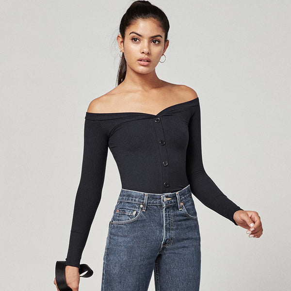 Off The Shoulder Button-Down Top Blouse