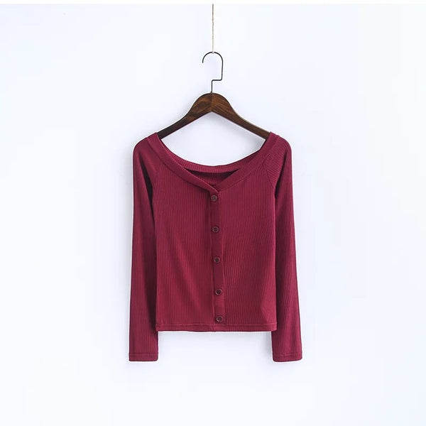 Off The Shoulder Button-Down Top Dark Red / S Blouse