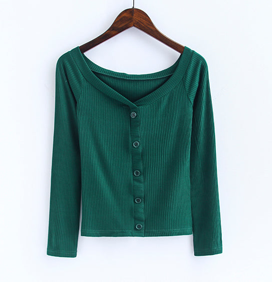 Off The Shoulder Button-Down Top Dark Green / S Blouse