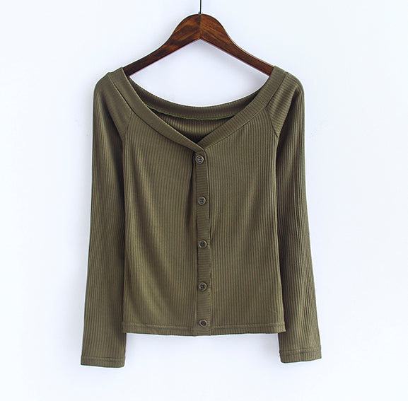Off The Shoulder Button-Down Top Army Green / S Blouse