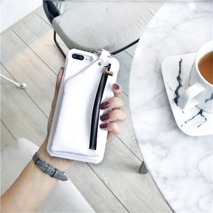 Faux Leather Wallet Case For Iphone White / I7Plus Phone