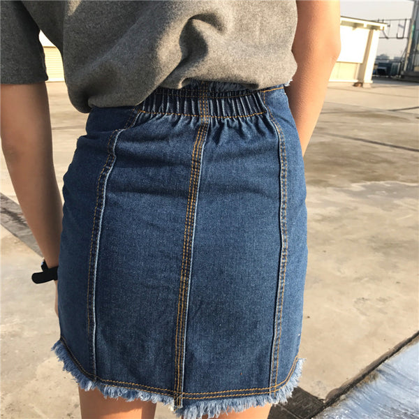 Frayed Zip-Front Denim Skirt