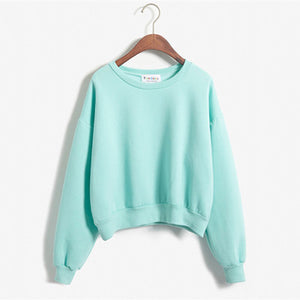 Cropped Pullover Sweatshirt Green / One Size