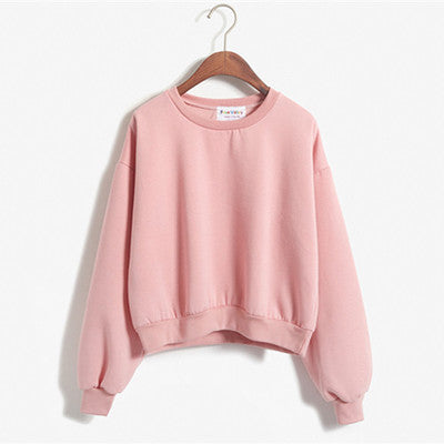 Cropped Pullover Sweatshirt Pink / One Size