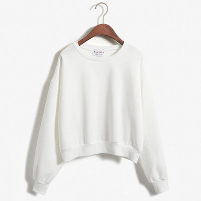 Cropped Pullover Sweatshirt White / One Size