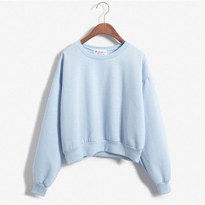 Cropped Pullover Sweatshirt Light Blue / One Size