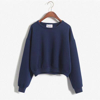 Cropped Pullover Sweatshirt Navy Blue / One Size