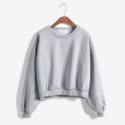 Cropped Pullover Sweatshirt Gray / One Size