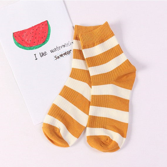 Striped Crew Socks Yellow / One Size