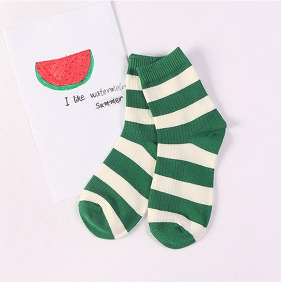 Striped Crew Socks Green / One Size