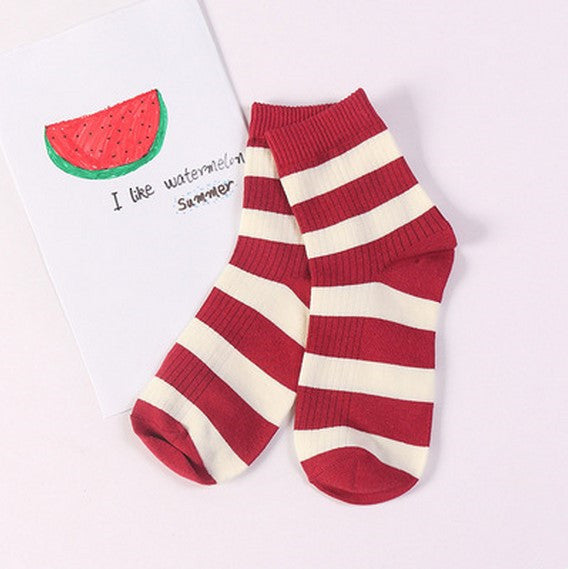 Striped Crew Socks Red / One Size