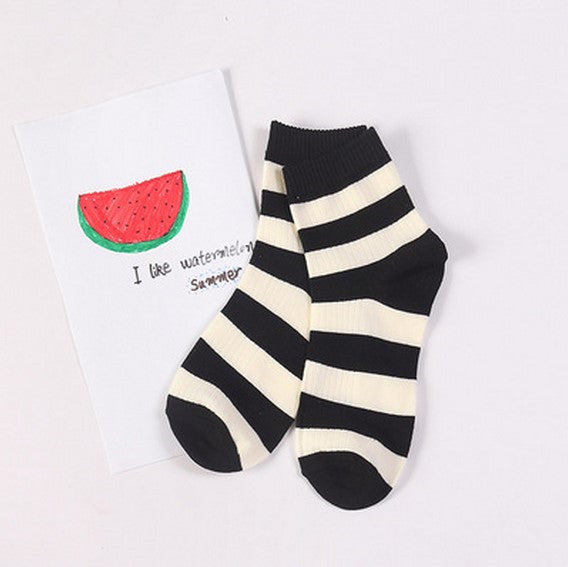 Striped Crew Socks Black / One Size