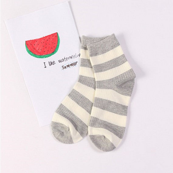 Striped Crew Socks Grey / One Size