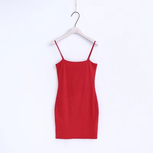 Basic Bodycon Dress Red / S
