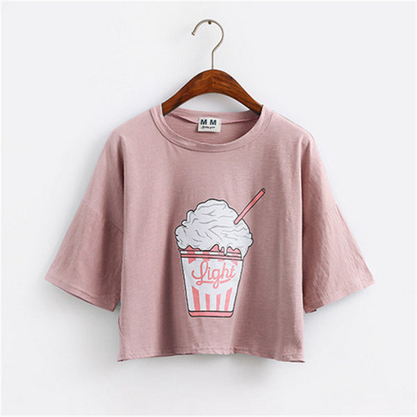 Light Cropped Graphic Tee Pink / One Size T-Shirt