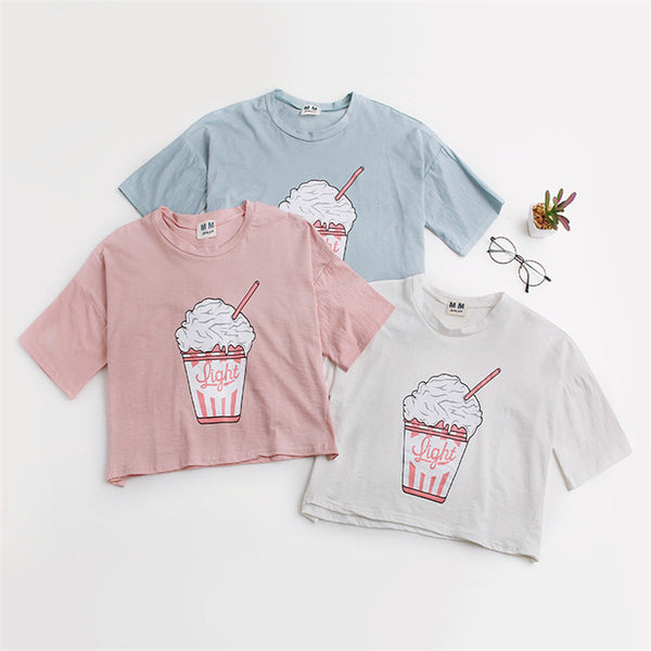 Light Cropped Graphic Tee T-Shirt