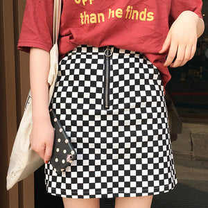 Checkered A-Line Mini Skirt with pull-ring