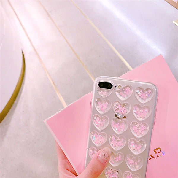From Jenny Crystal Love Hearts Phone Case Clear Back Cover For Iphone 7 7Plus 6 6S 6Plus 6Splus Glitter Transparent
