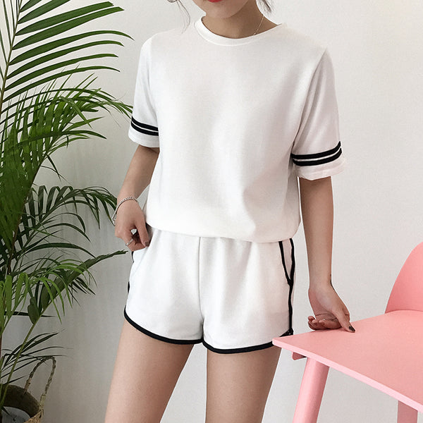 Basic Striped Co-Ord White / One Size Co-Ord